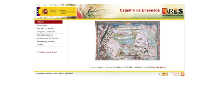 Catastro de Ensenada en la web del Ministerio de Economía y Hacienda