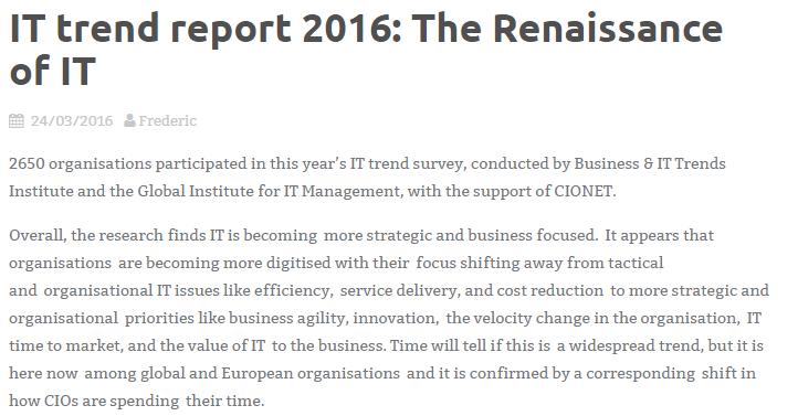 El renacimiento de las TIC (Fuente: http://blog.cionet.com/2016/03/24/it-trend-report-2016-the-renaissance-of-it/)
