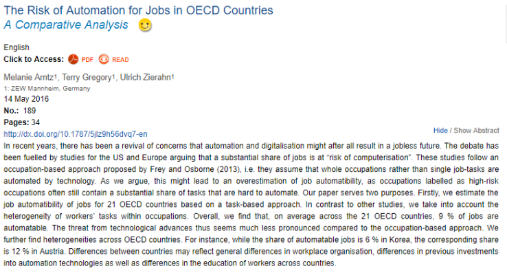 % de puestos de trabajo en riesgo de automatización (Fuente: http://www.oecd-ilibrary.org/social-issues-migration-health/the-risk-of-automation-for-jobs-in-oecd-countries_5jlz9h56dvq7-en)