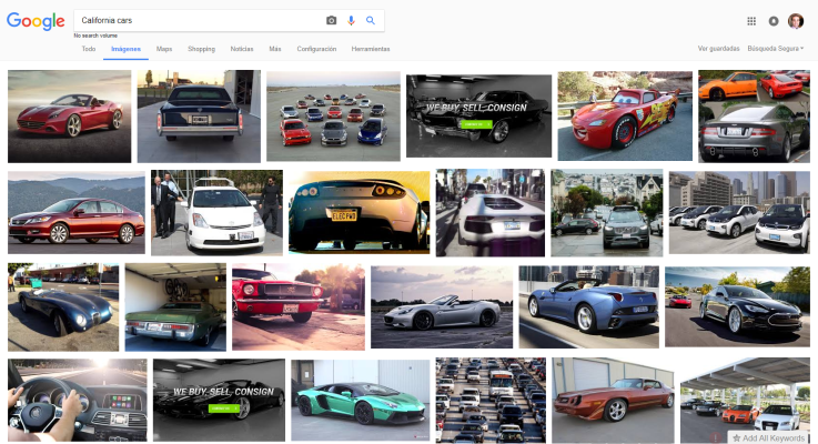 Búsqueda en Google de California cars