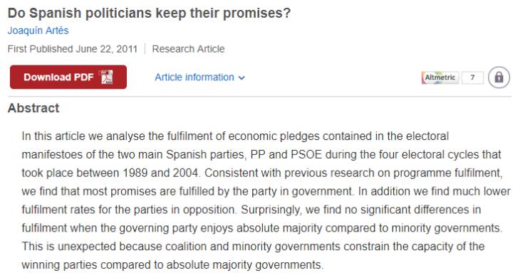 Los partidos políticos en España cumplen sus promesas (Fuente: Do Spanish politicians keep their promises?)