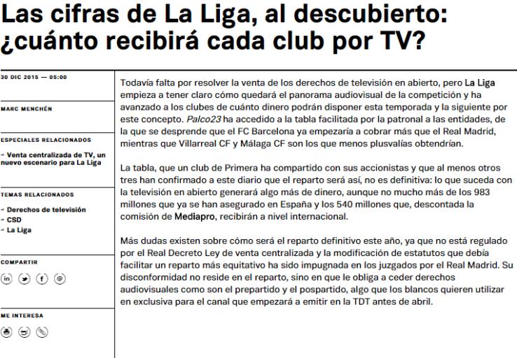 Ingresos equipos en La Liga Española 2015/16 (Fuente: http://palco23.com/clubes/20151230/las-cifras-de-la-liga-al-descubierto-cuanto-recibira-cada-club-por-tv/)