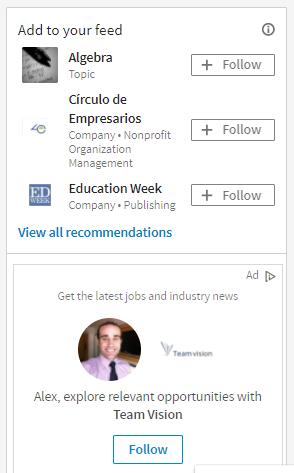 Sugerencias de estudios y eventos para mi perfil en Linkedin