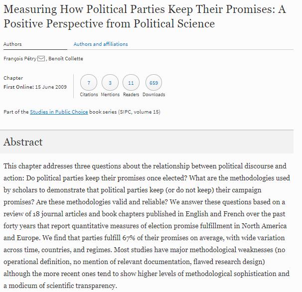 Los partidos políticos cumplen sus promesas