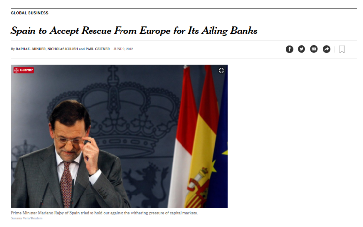 El New York Times centraliza la noticia en Rajoy (www.nytimes.com)