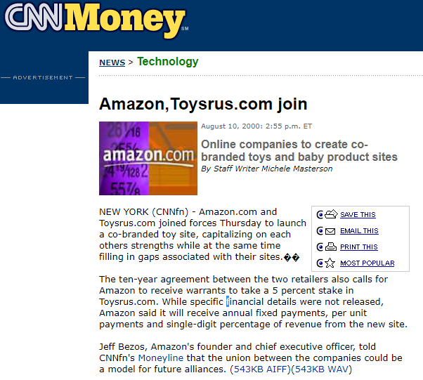 Acuerdo entre Amazon y Toys R Us (Fuente: http://cnnfn.cnn.com/2000/08/10/technology/amazon/index.htm)